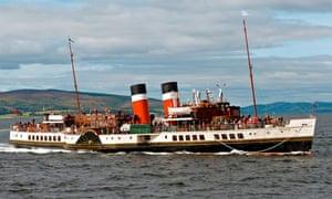 Paddle Steamer Waverley approaching Lochranza pier on the Isle of Arran, Scotland.