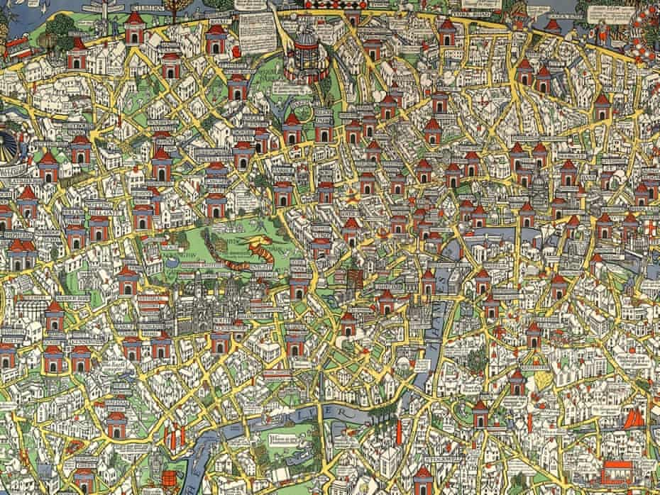 """Fantasy land … Detail from Max Gill's """"Wonderground Map of London Town"""", 1914."""