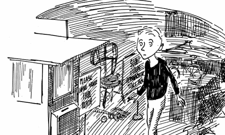 Norton Juster's protagonist Milo with the tollbooth in his bedroom, as illustrated by Jules Feiffer