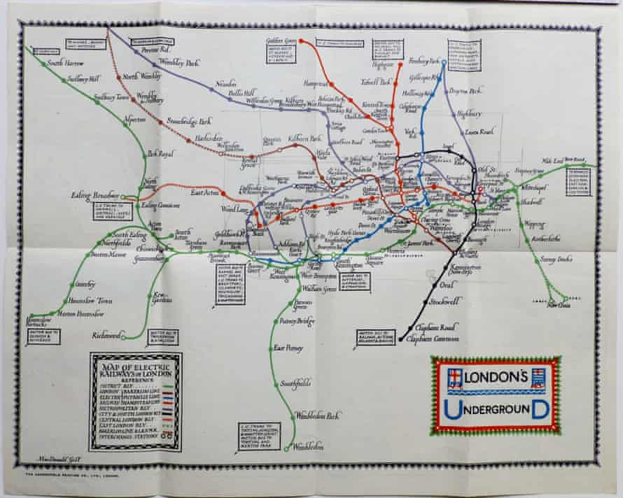 Max Gill's London Underground System map, 1922, pre-dating Harry Beck's design.