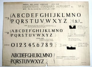 Imperial War Graves lettering designed by Max Gill, 1917.