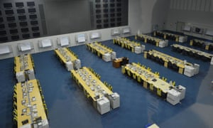 Rows of desks in the operation room at the Rinkai disaster park headquarters.