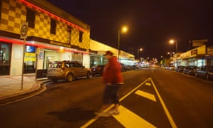 Morwell town centre at night.