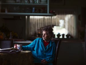 Glenice Beames sits with a cuppa at her home in Morwell.