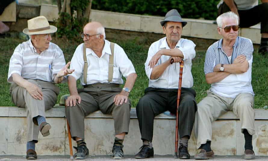 Old men sat on bench