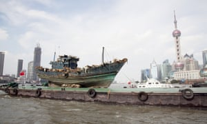 Art installation The Ninth Wave by artist Cai Guo-Qiang sailing on the Huangpu River in Shanghai