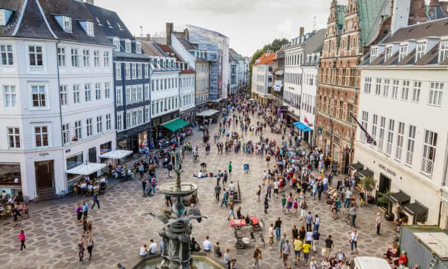 Shoppers in Copenhagen, Denmark.
