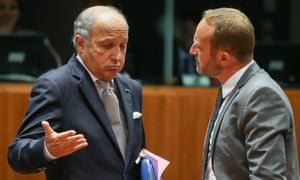 French minister Laurent Fabius gives a perfect Gallic shrug to Danish Foreign Minister Martin Lidegaard  at the start of a EU foreign affairs meeting in Brussels.