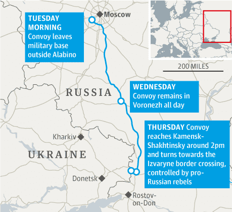Map of Russian convoy to Ukraine