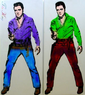 Double Elvis with gun, by Bambi