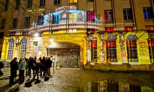 Projection of Sanssouci Palace on the facade of Berghain nightclub