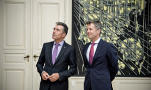 NATO Secretary General Anders Fogh Rasmussen meets Danish Crown Prince Frederik, right, during his official visit to Denmark today. (AP Photo/POLFOTO, Jens Dresling)