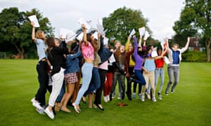 Students from Withington girls' school in Manchester celebrate their A-level results
