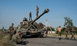 Ukrainian soldiers near Illovaisk, in the Donetsk region