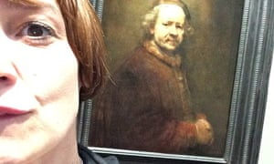 Zoe Williams poses in front of one of the original selfies: Rembrandt's Self-Portrait at 63