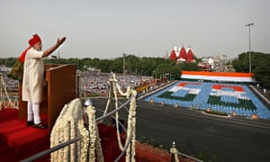Indian prime minister Narendra Modi makes his first Independence Day speech in Delhi