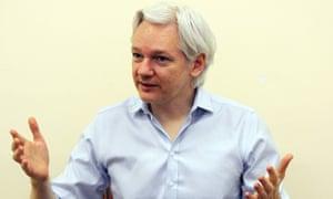 Wikileaks founder Julian Assange speaking to the media inside the Ecuadorian embassy in London.