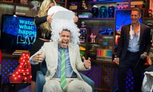 Andy Cohen, Kim Zolciak and Bruce Bozzi participating in the ice bucket challenge.