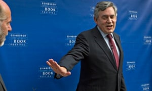 Gordon Brown appears to reject his own book as he appears at the Edinburgh Book Festival