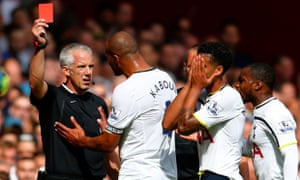 Kyle Naughton is sent off by Chris Foy at Tottenham's game against West Ham.