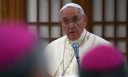 Pope Francis speaks during the meeting with Asian bishops.