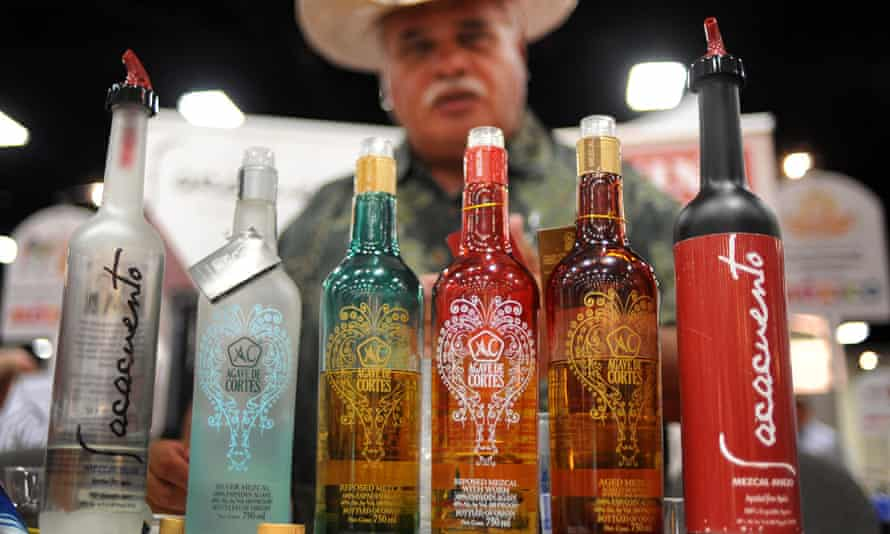 Mezcal bottles lined up at the Expo Comida Latina trade show in San Diego, California.