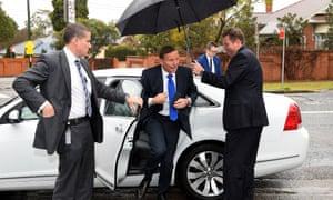 Tony Abbott in Sydney on Monday with member for Reid, Craig Laundy.
