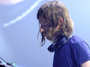 Aphex Twin performs on stage during day one of the Pitchfork Music Festival at the Grande Halle de La Villette on October 28, 2011 in Paris, France.
