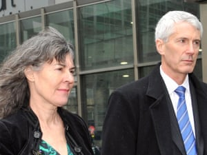 Chrissie and Anthony Foster leave the royal commission hearing on Monday.