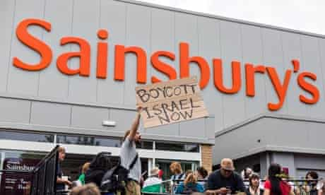 Protest against Israeli food products sold in Sainsbury's supermarket