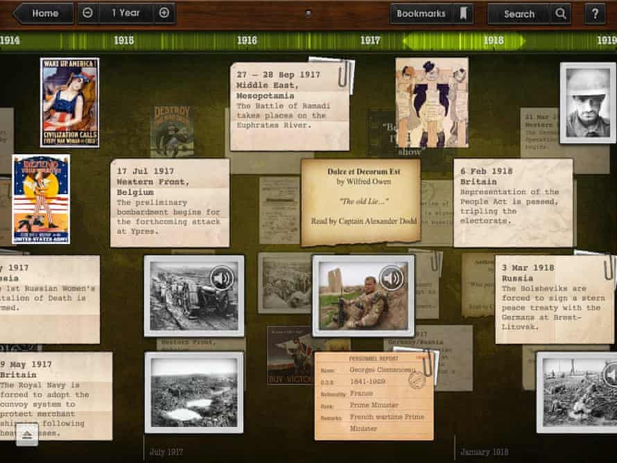 The Timeline WW1 app blends text, photos, videos and maps.