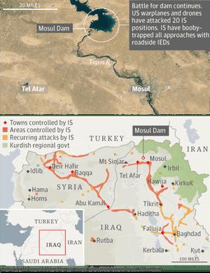 Mosul dam map