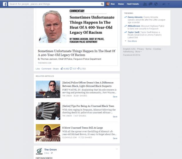 Facebook satire tag trial
