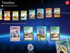 Godus uses a system of virtual cards to unlock new powers.