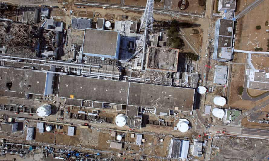 An aerial view of damage to the Fukushima nuclear power plant after an earthquake and tsunami knocked out the cooling systems in March 2011.