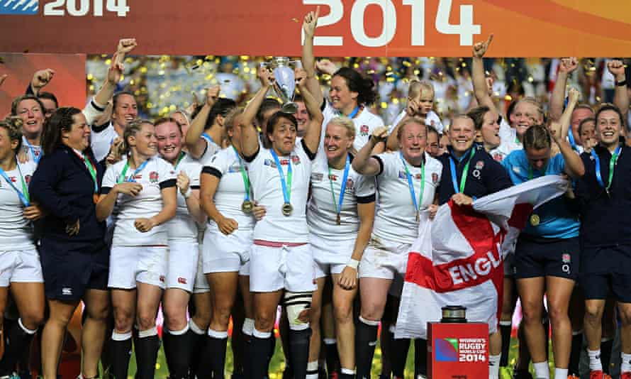 England women's rugby team celebrate world cup triumph