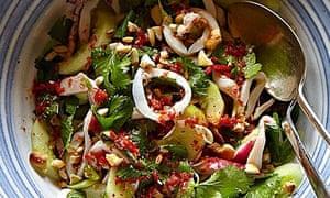 Simon Hopkinson's squid, cucumber, radish and cashew nuts with citrus-chilli dressing