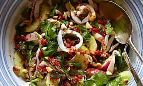 Simon Hopkinson's squid, cucumber, radish and cashew nuts with citrus-chilli dressing