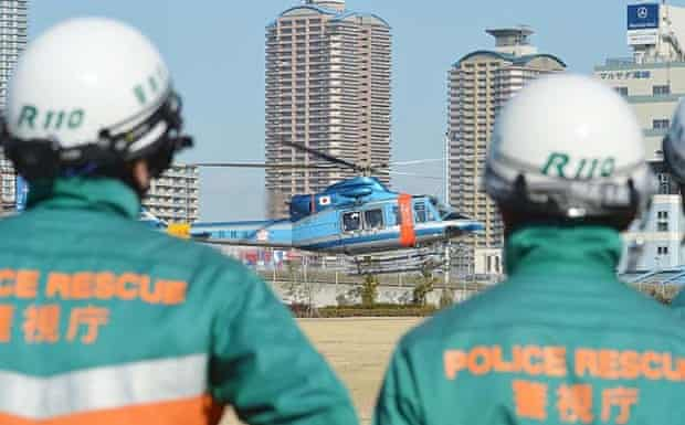 A rescue helicopter at Tokyo Rinkai disaster prevention park, the HQ for large-scale disaster prevention across the Tokyo metropolitan area.