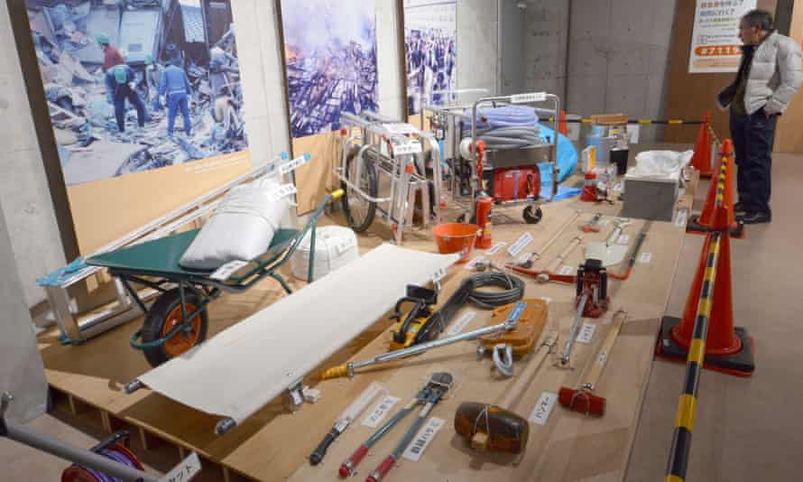 Survival tools on display at Tokyo Rinkai disaster prevention park.