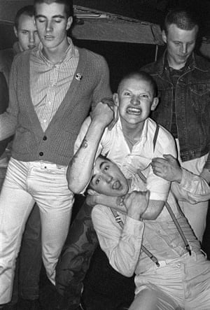 Photographed in Billys, at 69 Dean Street, Soho 1979.  This was my first encounter with any skinheads since the early '70s and Wally, the guy waving a fist, was the guy that persuaded me to hang out with them and take more photos.