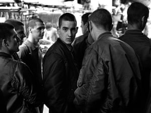 Skinheads hanging around outside The Last Resort shop in Goulston Street, 1981.