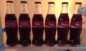 Coca-Cola's #ShareACoke campaign generated 1.1million Facebook likes after a man used personalised Coke bottles to propose to his wife.