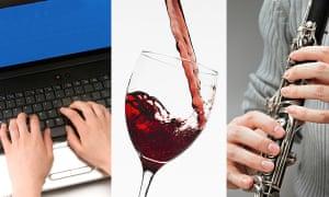 Computer, wine, clarinet
