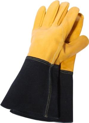 Not just any gardening gloves, but 'premium heavy-duty gauntlet gardening gloves'.