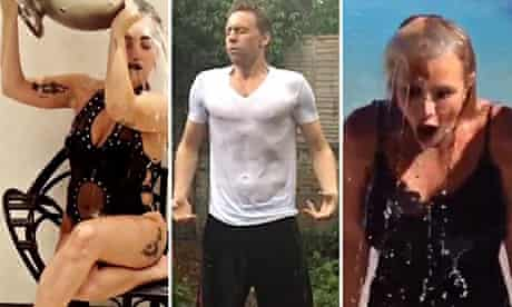 Composite of Lady Gaga, Tom Hiddleston and Britney Spears taking the ice bucket challenge