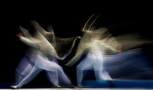 Chiara Crovari of Italy (R) and Alina Moseyko of Russia compete in the Women's Sabre Individual Final on day three of the Nanjing 2014 Summer Youth Olympic Games at Nanjing International Expo Centre in Nanjing, China.