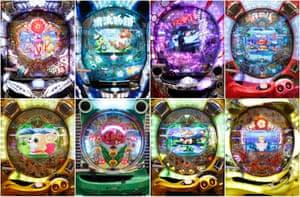 A montage of pachinko machines