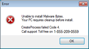Fake tech support scam makes it look as though software has failed on installation.