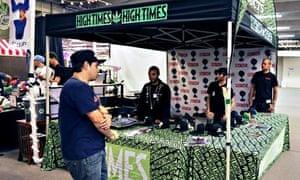 Visitors and vendors attend the pot pavilion at Denver county fair.